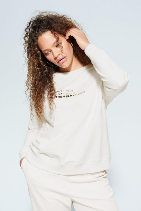 Mango Beyaz Yazı İşlemeli Sweatshirt