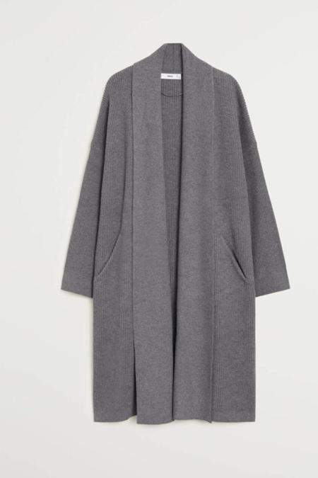 Mango Gri Uzun Dokuma Palto