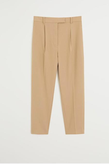 Mango Orta Kahverengi Pilili Kısa Paçalı Pantolon
