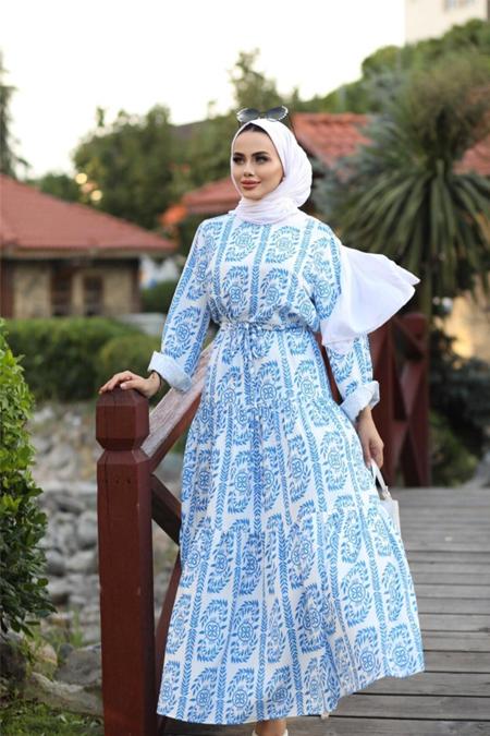Moda Ekru Lacivert Bel Kemerli Desenli Viskon Elbise