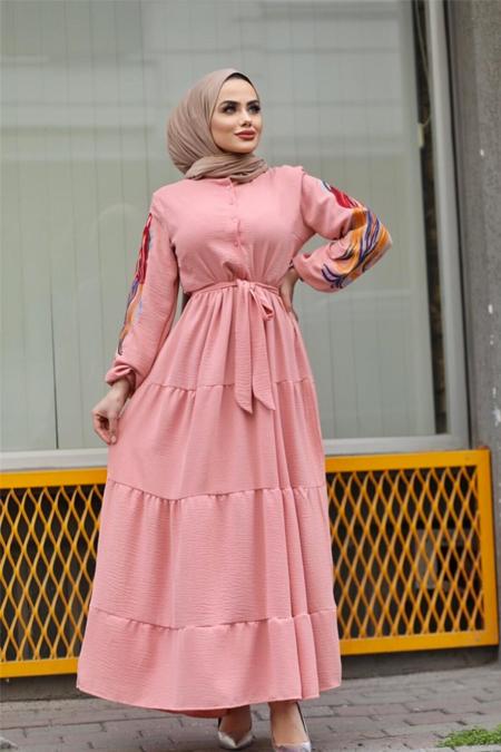 Moda Ekru Pudra Kol Nakış Detaylı Elbise