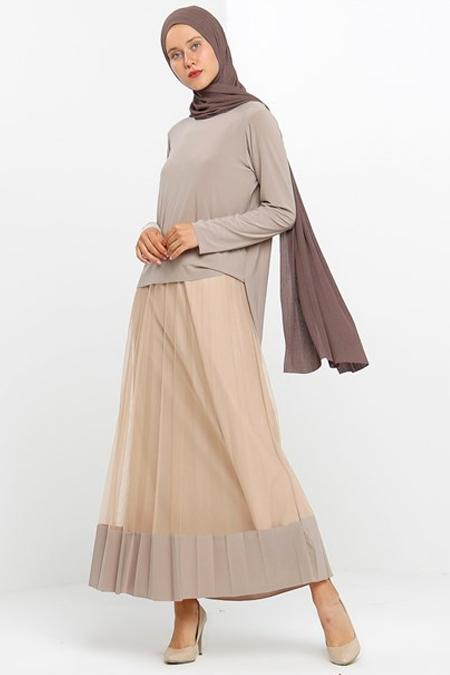 Modamelis Bej Piliseli Tül Detaylı Elbise