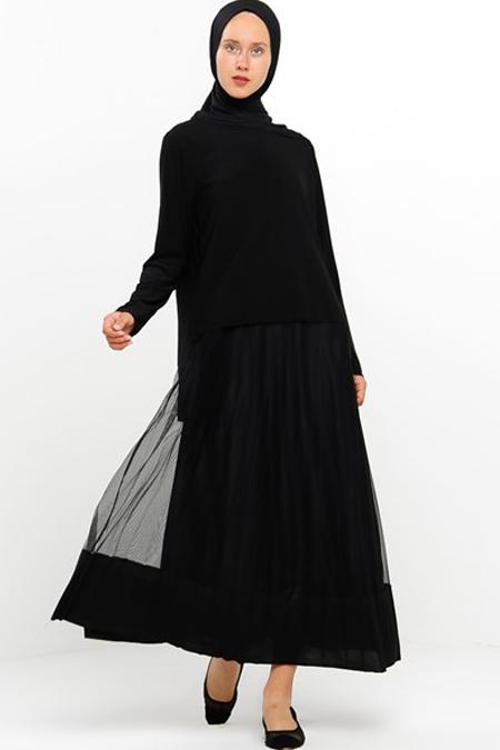 Modamelis Siyah Piliseli Tül Detaylı Elbise