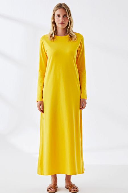 Muni Muni Hardal Doğal Kumaşlı Elbise