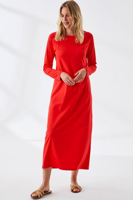 Muni Muni Kırmızı Doğal Kumaşlı Elbise