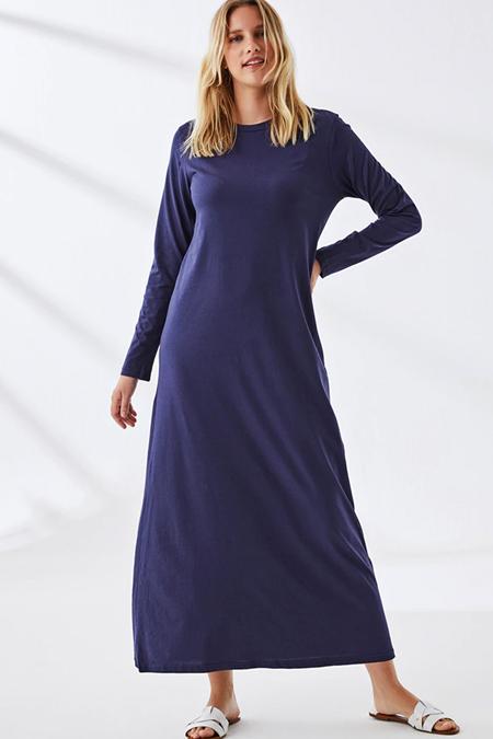 Muni Muni Koyu Lacivert Doğal Kumaşlı Elbise