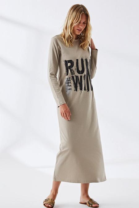 Muni Muni Kum Beji Doğal Kumaşlı Baskılı Elbise
