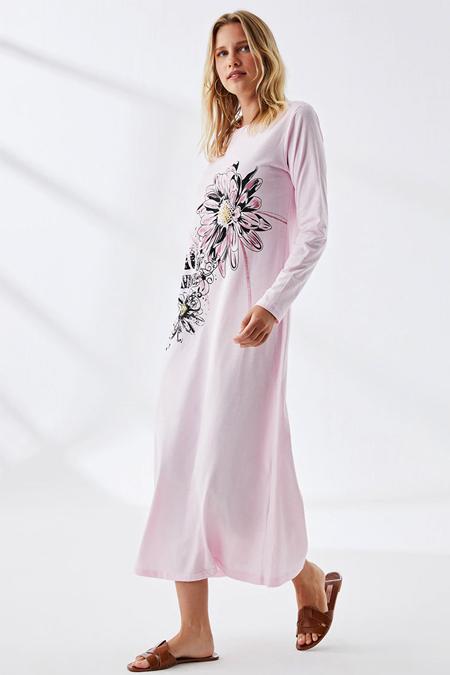 Muni Muni Pembe Doğal Kumaşlı Baskılı Elbise