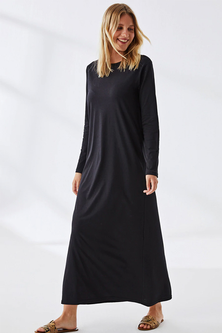 Muni Muni Siyah Doğal Kumaşlı Elbise