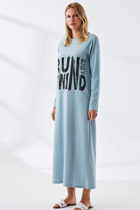 Muni Muni Toz Mavi Doğal Kumaşlı Baskılı Elbise