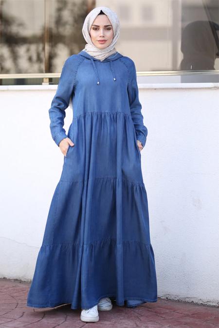 Neways Koyu Mavi Kot Elbise