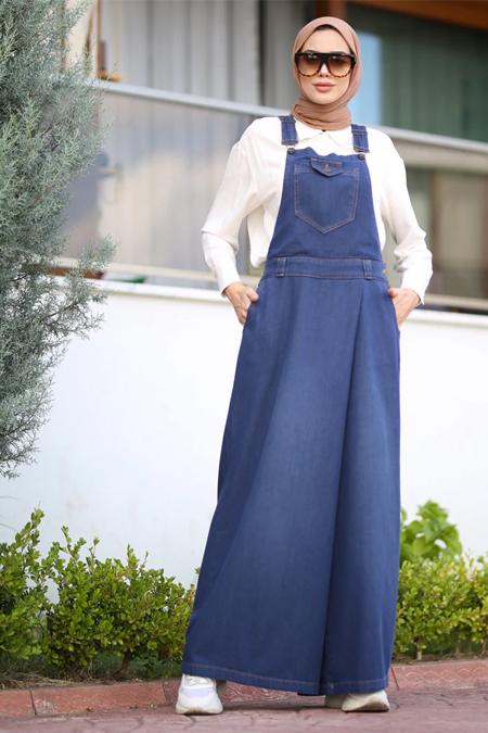 Neways Koyu Mavi Kot Salopet Pantolon