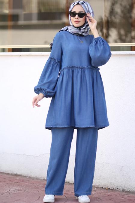 Neways Koyu Mavi Tunik & Pantolon Kot İkili Takım