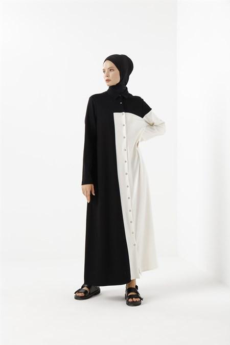 Phull Beyaz Garnili Örme Elbise
