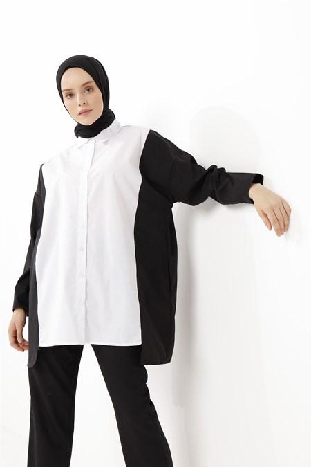 Phull Beyaz İki Renkli Salaş Tunik