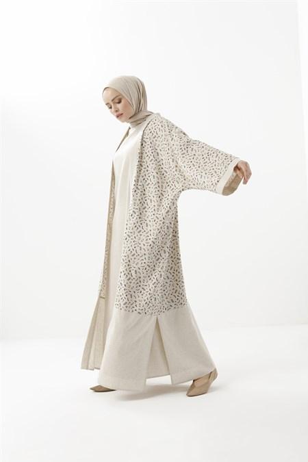 Phull Camel Keten Karışımlı Desenli Kimono