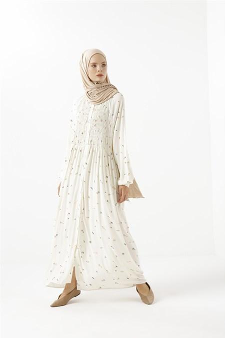 Phull Ekru Palmiye Desen Elbise