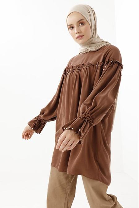 Phull Kahverengi İncili Tensel Tunik