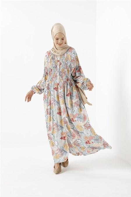 Phull Karışık Renk Palmiye Desen Elbise