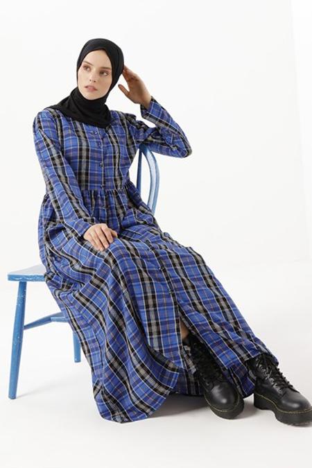 Phull Mavi Pamuklu Boydan Düğmeli Elbise