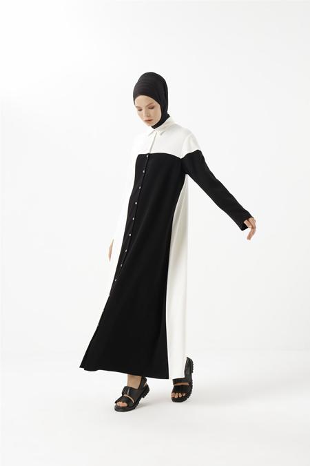 Phull Siyah Garnili Örme Elbise