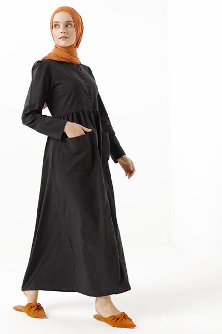 Phull Siyah Pamuklu Boydan Düğmeli Elbise