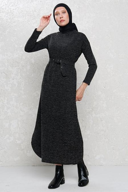 Phull Siyah Yarasa Kol Balıkçı Yaka Triko Elbise