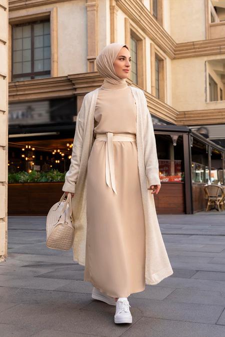 Refka Kahve Biye Detaylı Elbise
