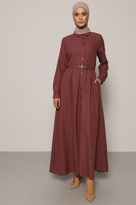 Refka Gül Kurusu A Pile Detaylı Kemerli Elbise
