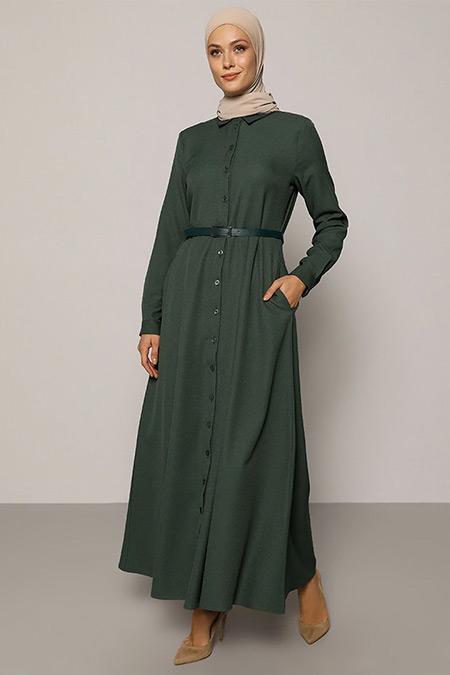 Refka Koyu Yeşil A Pile Detaylı Kemerli Elbise
