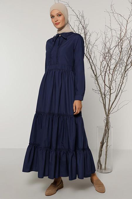 Refka Lacivert Yaka Detaylı Elbise