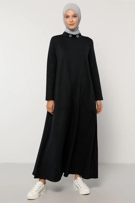 Refka Lacivert Yakası Kuş Gözü Detaylı Cepli Elbise