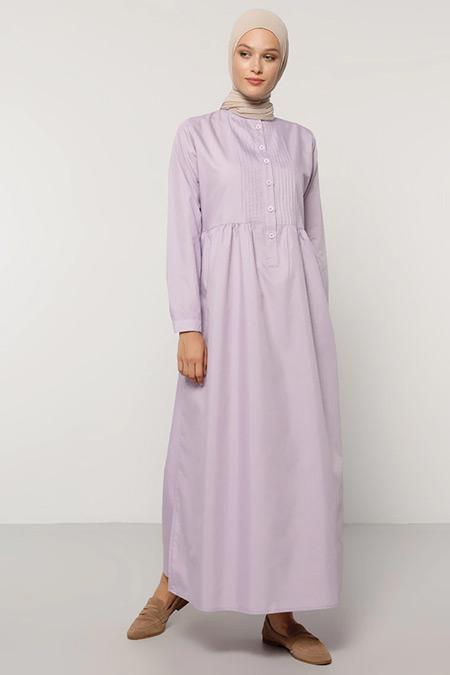 Refka Lila Düğme Detaylı Elbise