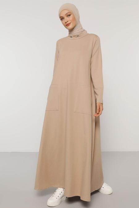 Refka Macchiato Yakası Kuş Gözü Detaylı Cepli Elbise
