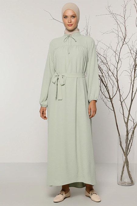 Refka Nil Yeşili Yaka Detaylı Elbise