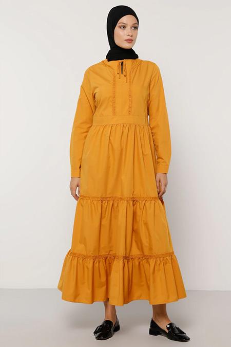 Refka Safran Yaka Detaylı Elbise
