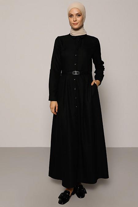 Refka Siyah A Pile Detaylı Kemerli Elbise