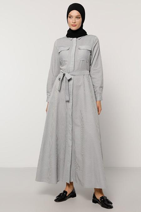 Refka Siyah Beyaz Çizgi Desenli Elbise