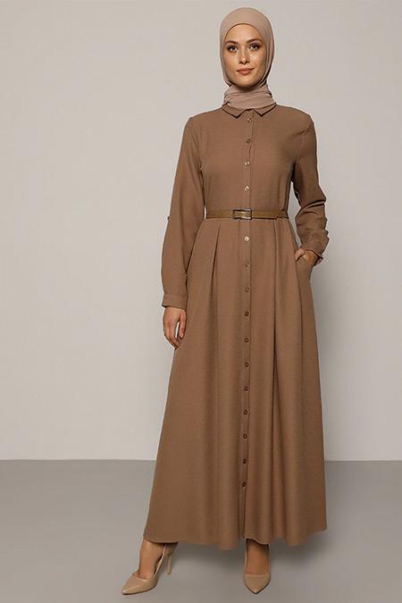 Refka Vizon A Pile Detaylı Kemerli Elbise