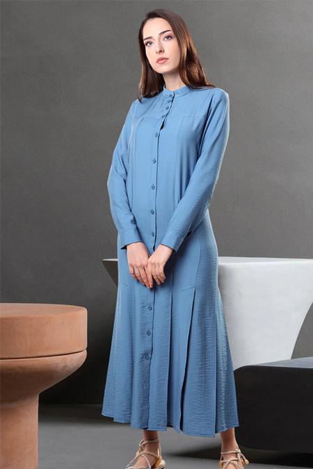 Sahra Afra Mavi Cuella Elbise