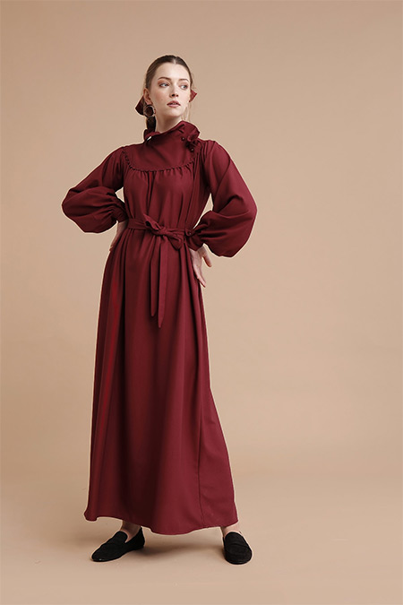 She Sea Bordo Yaka Detaylı Kemerli Elbise