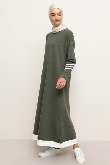 Tavin Haki Kolları Şerit Detaylı Elbise
