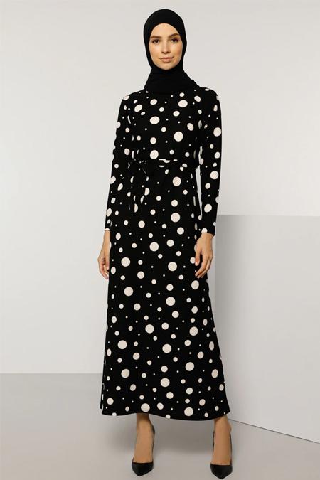 Tavin Siyah Puantiye Desenli Elbise