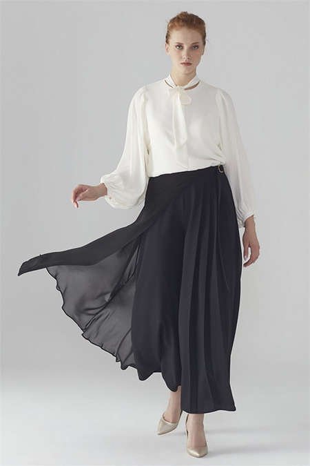 Zühre Siyah Üst Şifon Detaylı Bol Kesim Pantolon
