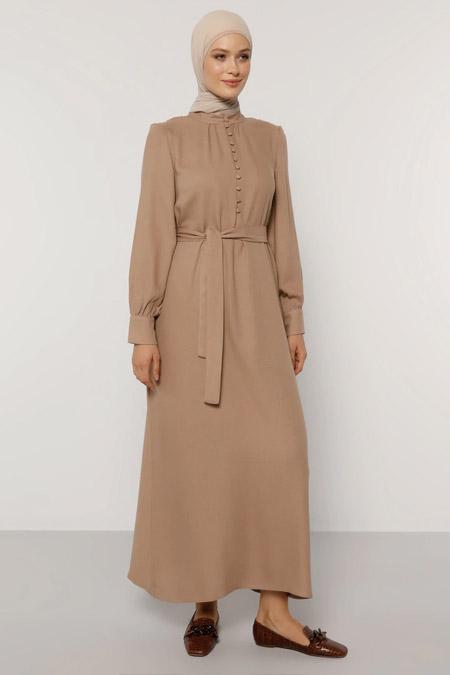 Refka Koyu Vizon Düğme Detaylı Kuşaklı Elbise