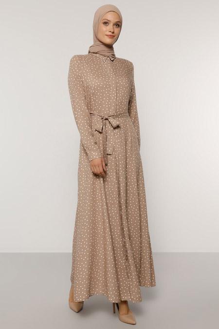 Refka Vizon Doğal Kumaşlı Puantiye Desenli Elbise