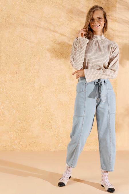 Ceylan Otantik Açık Mavi Bol Paça Kot Pantolon
