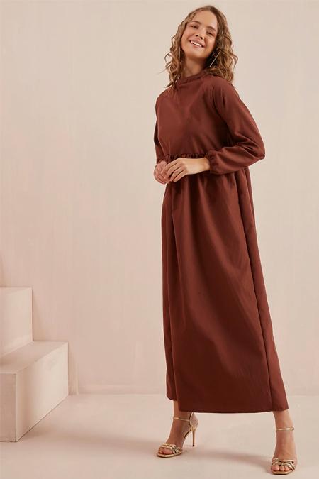 Ceylan Otantik Kahverengi Belden Robalı Reglan Kol Elbise