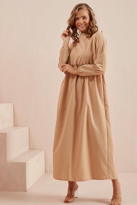 Ceylan Otantik Karamel Belden Robalı Reglan Kol Elbise