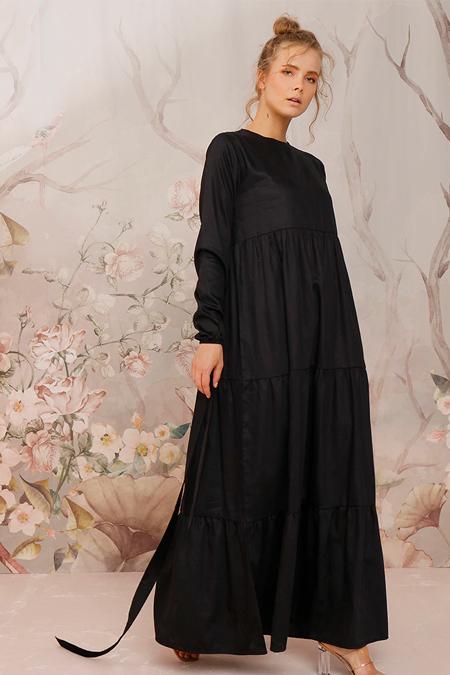 Ceylan Otantik Siyah Düz Renk Kat Kat Elbise